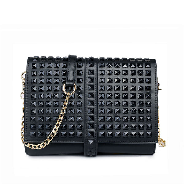 Vegan Leather Studded Clutch Bag