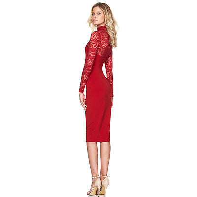 Lace Turtleneck Long Sleeve Midi Bodycon Dress