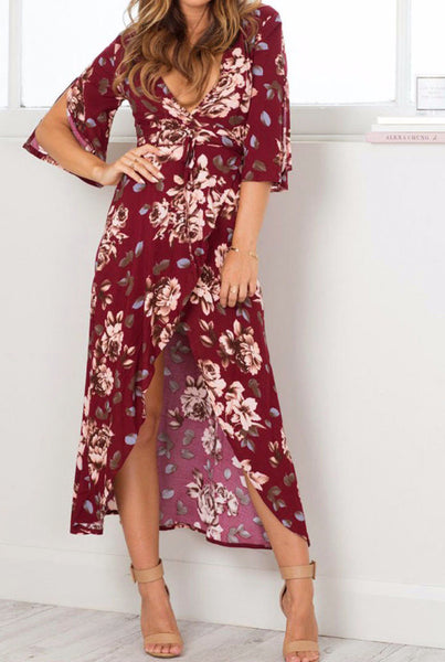 It's A Wrap Floral Print Deep V Neck Flare Wrap Dress