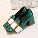 Patent Leather Vintage Mary Jane Patch Square Toed Block Heel Pumps