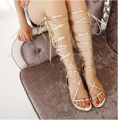 Cutout Knee High Gladiator Flat Sandals