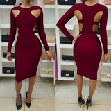 Hollow Out Bodycon Bandage Slim Pencil Dress