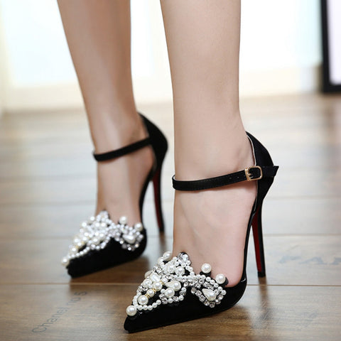 59179f05b49d Pearls and Suede Ankle Strap Stilettos