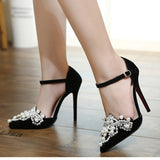 Pearls and Suede Ankle Strap Stilettos