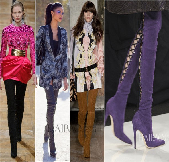 Pointed Toe Over The Knee Back Lace-up Suede Genuine Leather Thigh High Boots
