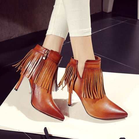 Genuine Leather Tassel Pointed Toe Side Zip Red Bottom Ankle Martin Boots