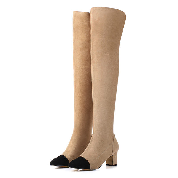 Square Low Heel Nubuck Leather Thigh High Two Tone Boots