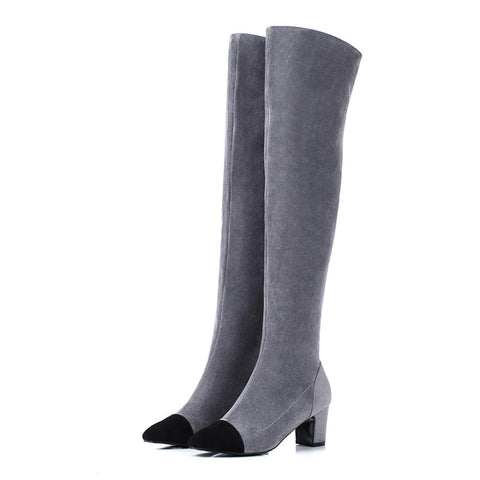 6306f130018db ... Leather Thigh High Two Tone Boots.  98.99 USD