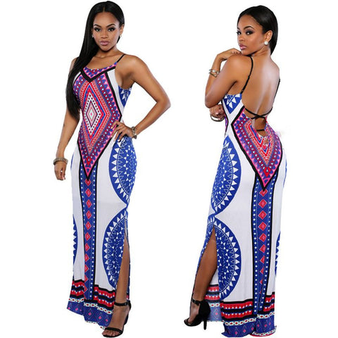 Dashiki Bodycon Maxi Dress
