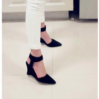 Handmade Suede Ankle Strap Pointed Toe