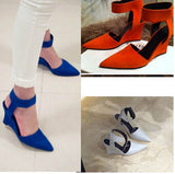 Handmade Suede Ankle Strap Pointed Toe Wedges