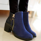 Suede and Moc-Croc PU Leather Ankle Boots