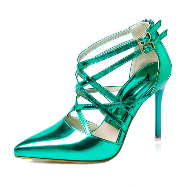 Patent Leather Strappy High Heel Pumps