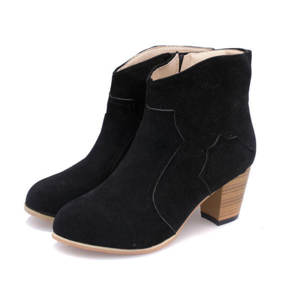 Chelsea Chunky Heel Motorcycle Western Ankle Boots