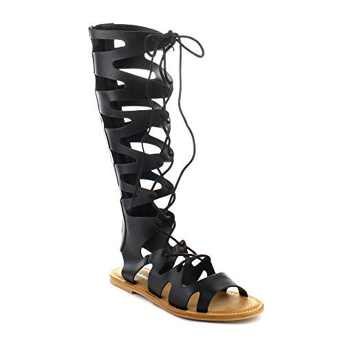 7f059710a9c9 Open Toe Knee High Tall Lace Up Cut Out Roman Rome Gladiator Flat ...