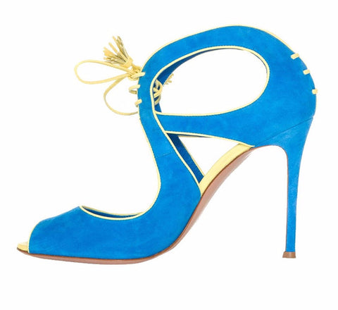 Suede Azure Lace up Stiletto Heels