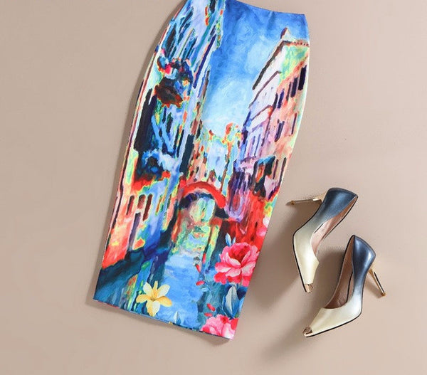 The Art Collection Rome Knee Length Pencil Skirt