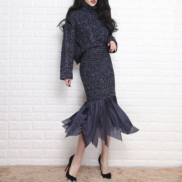 Thick Knit Lantern Sleeve Turtleneck Sweater + Fishtail Pencil Skirt Suit