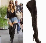 Thigh High Gladiator Motorcycle Boots with Small Packets as seen on Rihanna