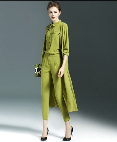 Casual Shirt with Trouser and Cloak 3 Piece Set Pant Suit