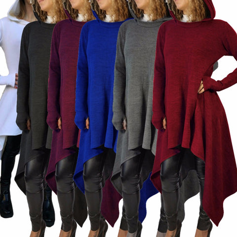 Hooded Lady Asymmetrical Sweater Dress