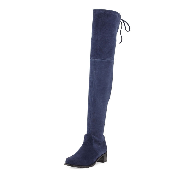 9a39e10af6160 Nubuck Leather Stretch Suede Over The Knee Flat Boots – THULI NYC