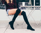 Nubuck Leather Stretch Suede Over The Knee Flat Boots