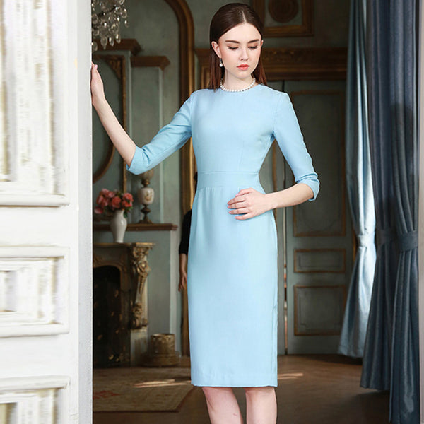 3/4 Sleeve Knee Length Elegant Light Blue Pencil Dress