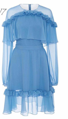 Long Sleeve Layered Ruffles Chiffon Dress