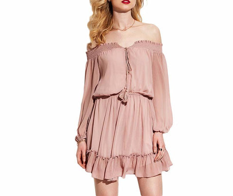 c7aca987d5e Off The Shoulder Bohemian Chiffon Skater Dress