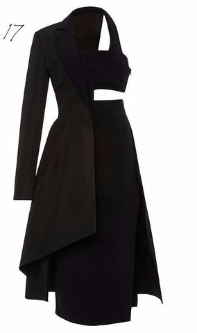 Parisian Hollow-Out Asymmetrical Dress