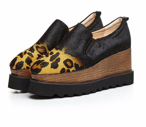 Genuine Leather Ombre Double Wedge Leopard Print Mohair Loafers