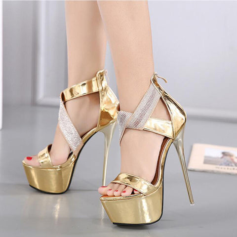 Ankle Strap Jeweled Metallic Platform Sandals
