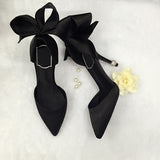 The Diamond Collection Back Bow Silk Cut-Out High Heel Pumps