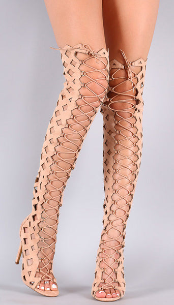 NUDE OPEN TOE MULTI DIAMOND CUT OUT LACE UP THIGH HIGH BOOTS