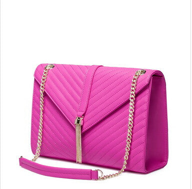 Luxurious Genuine Leather Tassel Quilted Handbag