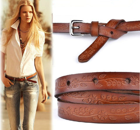 Genuine Leather Vintage Slim Belt