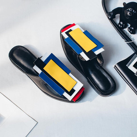 Ndebele Genuine Leather Geometric Patterns Slippers