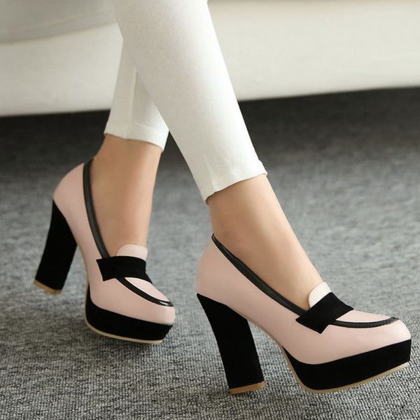 Thick Heel Two Tone Slip-Ons