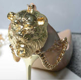 Patent Leather Metal Chain Lion Head/Snake Stiletto Thin Heel Pumps