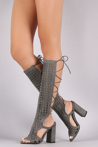 GREY OPEN TOE EXPOSED HEEL MULTI CUT OUT LACE UP KNEE HIGH GLADIATOR HEELS