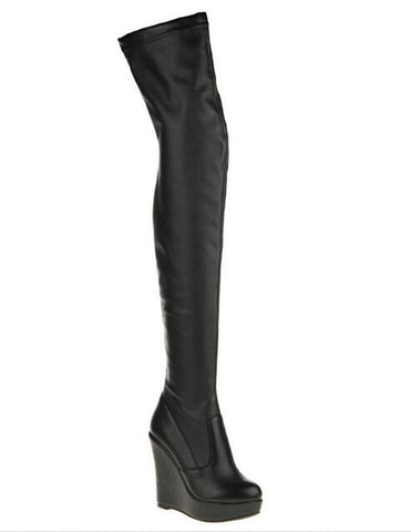 Genuine Leather Motorcycle Wedge Thigh High Boots