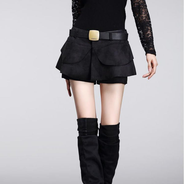 Suede High Waist Patchwork Formal Shorts