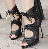 Open Toe Mesh Cutout High Heel Sandals