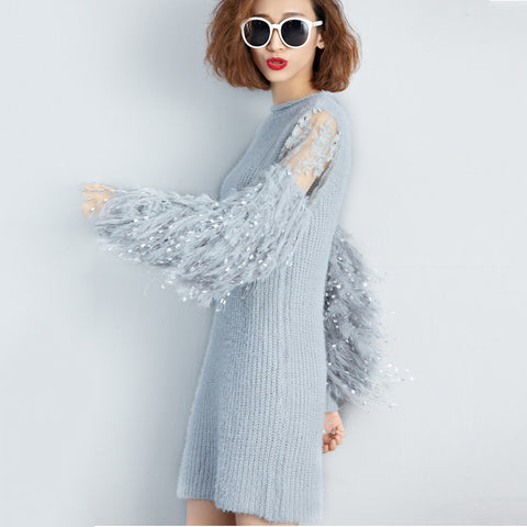 Lantern Sleeve Fashionista Knit Dress