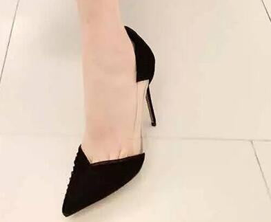Genuine Leather Patchwork Transparent Sides Pumps