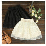 Embroidered Lace High Waist Tutu Mini Skirt