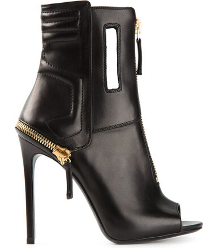 45e9e07caf537 Geometric Genuine Leather Peep Toe Zipper Ankle Boots – THULI NYC