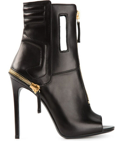 Geometric Genuine Leather Peep Toe Zipper Ankle Boots