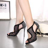 Mesh and Crystals High Heel Peep Toe Heels